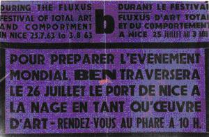 Affiche présentant une Performance de Ben comme œuvre d'art, durant le festival Fluxus (1963)